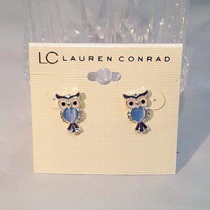 5 FOR $30 LC LAUREN CONRAD OWL BLUE STUD EARRINGS